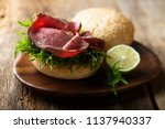 roast beef burger with lime... | Shutterstock . vector #1137940337