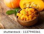 pumpkin and chili chutney | Shutterstock . vector #1137940361