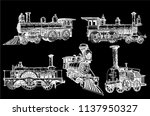 graphical set of locomotives... | Shutterstock .eps vector #1137950327