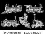 graphical set of locomotives... | Shutterstock .eps vector #1137950327