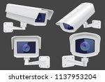 security camera set. white cctv ... | Shutterstock .eps vector #1137953204