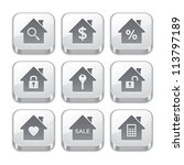 silver real estate button icons | Shutterstock .eps vector #113797189