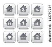 silver real estate button icons - stock vector