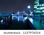 london at night  tower bridge... | Shutterstock . vector #1137976514
