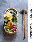 japanese bento lunch box with... | Shutterstock . vector #1137987611