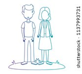 young couple in grass avatars... | Shutterstock .eps vector #1137993731