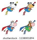 super hero dog and cow cartoon...   Shutterstock . vector #1138001894
