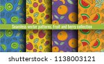 seamless pattern set. fruit and ... | Shutterstock .eps vector #1138003121
