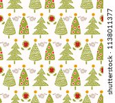 traditional christmas trees... | Shutterstock .eps vector #1138011377