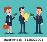 businessman sells his ideas   Shutterstock .eps vector #1138021001