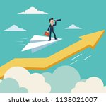 businessman flying on paper... | Shutterstock .eps vector #1138021007