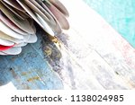 pile of colorful kayak or canoe ... | Shutterstock . vector #1138024985