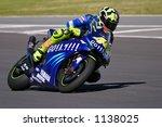 MotoGP racing, Valentino Rossi, Phakisa racetrack, Welkom, South Africa (April 2004) - stock photo