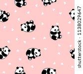 cute panda seamless pattern ... | Shutterstock .eps vector #1138029647