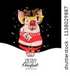 pig in a santa's red costume... | Shutterstock .eps vector #1138029887
