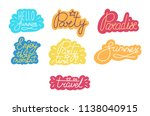 set of summer text stickers.... | Shutterstock .eps vector #1138040915
