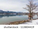 lake plastiras in the winter ... | Shutterstock . vector #113804419