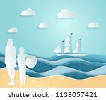 summer sea picture origami made ... | Shutterstock .eps vector #1138057421
