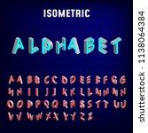 isometric 3d font. three... | Shutterstock .eps vector #1138064384