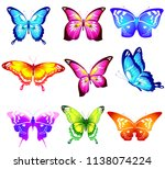 beautiful color butterflies set ...   Shutterstock . vector #1138074224