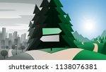 road fork and city break... | Shutterstock .eps vector #1138076381