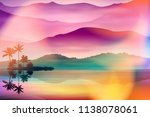 summer background with sea and... | Shutterstock .eps vector #1138078061