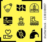 Simple icon set of art related belt, souvenir, map and photoshop vector icons. Collection Illustration