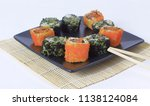 sushi set   different types of...   Shutterstock . vector #1138124084