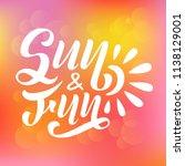 vector lettering summer card.... | Shutterstock .eps vector #1138129001