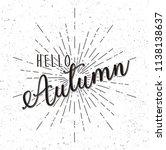 hand drawn of hello autumn | Shutterstock .eps vector #1138138637