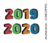 2019 and 2020 year color three... | Shutterstock .eps vector #1138139951