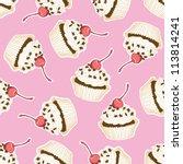 seamless cupcake pattern. hand... | Shutterstock .eps vector #113814241