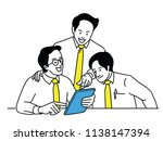 three businessmen  co workers ... | Shutterstock .eps vector #1138147394