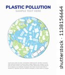 plastic pullution concept with... | Shutterstock .eps vector #1138156664