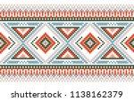 seamless vector border. folk... | Shutterstock .eps vector #1138162379