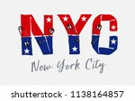 nyc slogan with pin... | Shutterstock .eps vector #1138164857