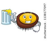 with juice sea urchin mascot... | Shutterstock .eps vector #1138177097