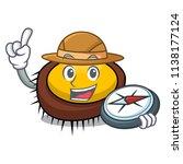 explorer sea urchin mascot... | Shutterstock .eps vector #1138177124
