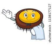 waiter sea urchin mascot cartoon | Shutterstock .eps vector #1138177127