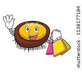 shopping sea urchin character... | Shutterstock .eps vector #1138177184