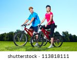 happy senior couple cyclist....   Shutterstock . vector #113818111