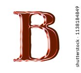 shiny red glass letter b in a... | Shutterstock . vector #1138184849