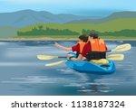 kayaking team adventure | Shutterstock .eps vector #1138187324
