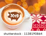 coffee cappuccino in a cup with ... | Shutterstock . vector #1138190864