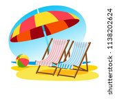 sun beds and sun umbrella on... | Shutterstock .eps vector #1138202624