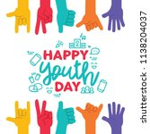 happy youth day greeting card... | Shutterstock .eps vector #1138204037