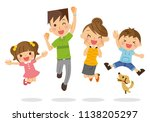 a family to jump. | Shutterstock .eps vector #1138205297