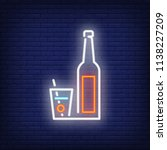 neon icon of cocktail glass and ... | Shutterstock .eps vector #1138227209