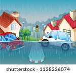 a flood in the village... | Shutterstock .eps vector #1138236074