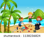a group of volunteer children... | Shutterstock .eps vector #1138236824